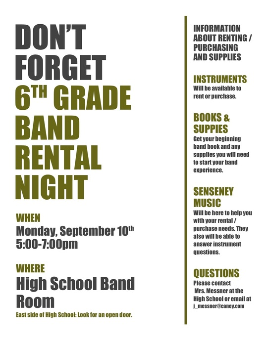 6th Grade Instrument Rental