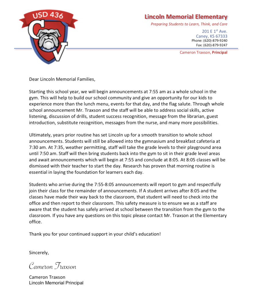 Announcement Letter 2019-2020