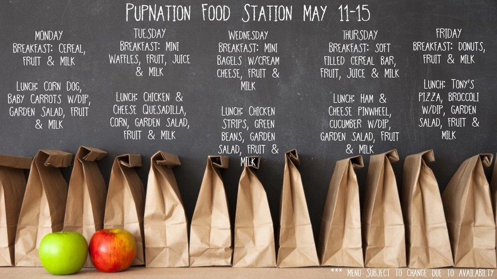 Lunch Menu for May 11-15